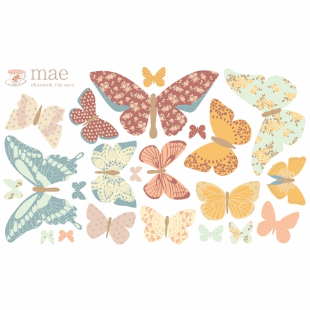 Butterflies Antique Fabric Wall Decals