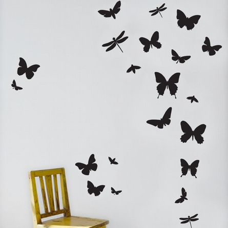 Butterflies Kids Wall Sticker in Black