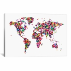 Butterflies World Map Canvas Wall Art