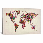 Butterflies World Map II Canvas Wall Art