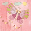 Butterfly on Pink Sky I Canvas Wall Art