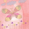 Butterfly on Pink Sky II Canvas Wall Art