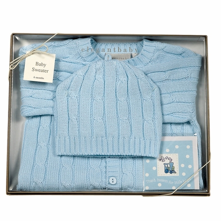 Cable Knit Sweater & Hat Boxed Set in Blue