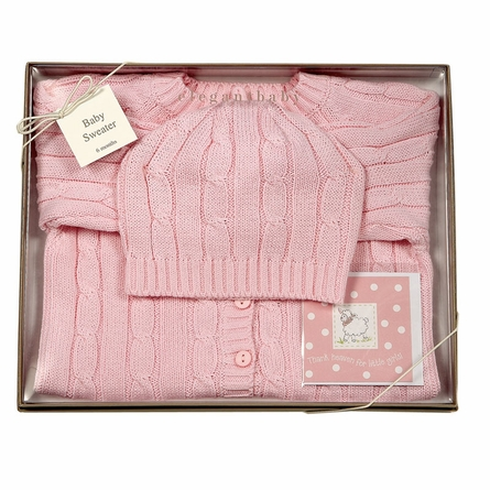 Cable Knit Sweater & Hat Boxed Set in Pink