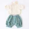 Cable Sweater & Capris Organic Hand-Knit Doll Clothes