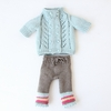 Cable Sweater & Striped Pants Organic Hand-Knit Doll Clothes