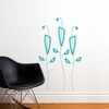 Cactus Flowers in Teal Wall Decal