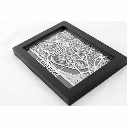 Cambridge Stainless Steel Framed Map