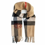Camel Plaid Monogram Cashmere-Feel Scarf