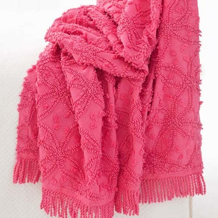 Candlewick Fuchsia Throw Blanket