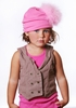 Candy Pink Cotton Hat with Pale Pink Marabou