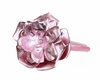 Candy Pink Rose Solid Headband with Metallic Pale Pink Rose