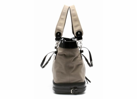 Canvas Diaper Bag in Tan and Black