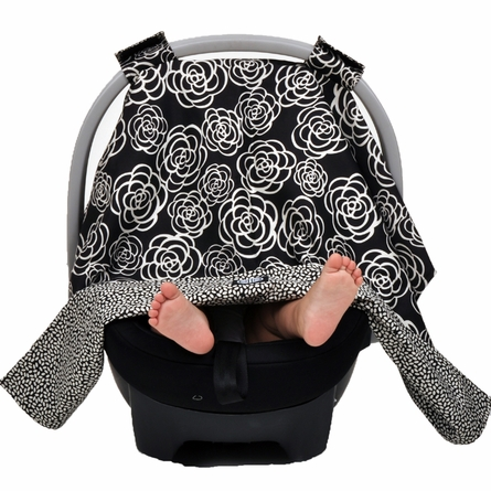 Car Seat Canopy in Black Camellia