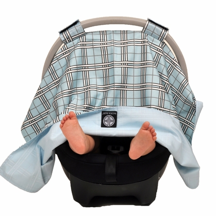 Car Seat Canopy in Blue Plaid