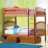 Caramel Latte Modern Curved Slatted Twin Bunk Bed