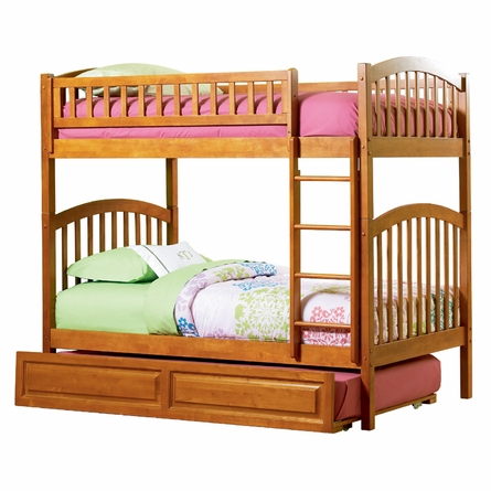 Caramel Latte Modern Curved Slatted Bunk Bed