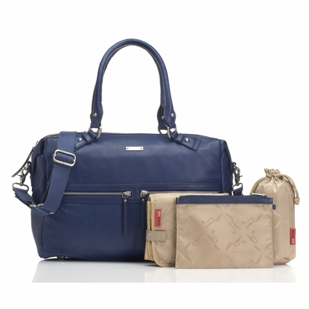 Caroline Leather Diaper Bag in Blue
