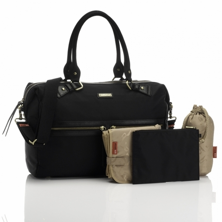 Caroline Nylon Diaper Bag in Black