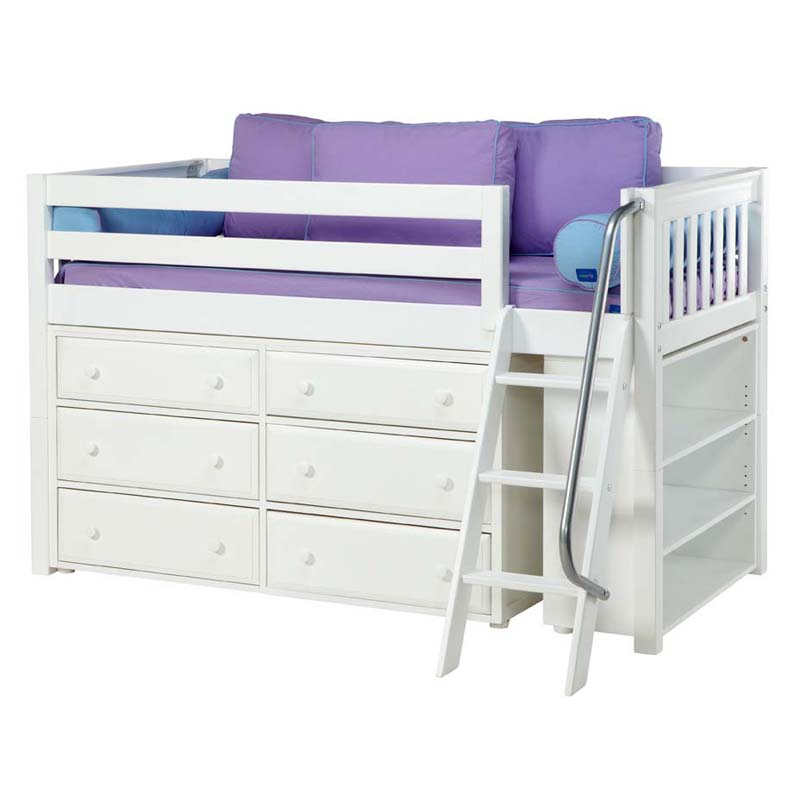Kicks low loft bed with dressers and bookcase for Low loft bed
