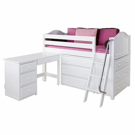 Carter Low Loft Bed with Dressers and Desk