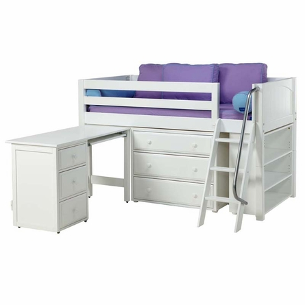 Carter Low Loft Bed with Dressers, Bookcase and Desk