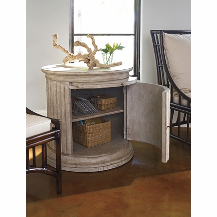 Castaway Drum Table in Sandy Linen
