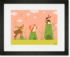 Cattails and Critters Coral Framed Art Print