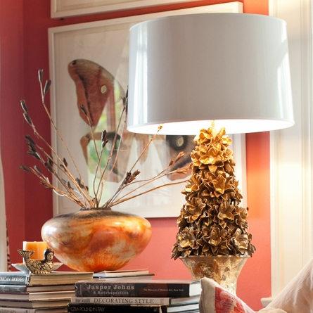 Cay Gray Table Lamp in Gold Leaf