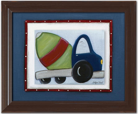 Cement Mixer Personalized Framed Canvas Reproduction