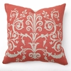 Center Scroll Print in Red Throw Pillow