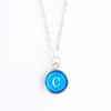 Cerulean Color Personalized Initial Necklace