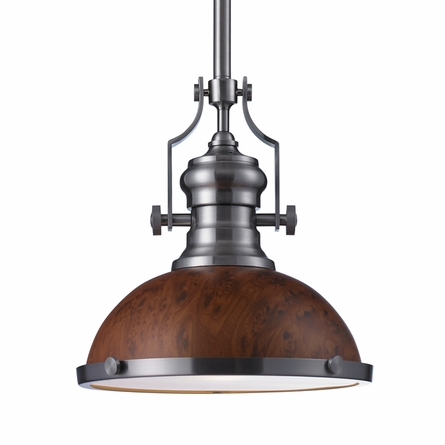 Chadwick Pendant In Burl Wood And Satin Nickel