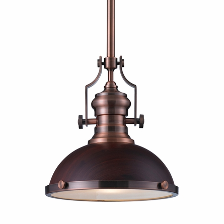 Chadwick Pendant In Dark Walnut And Antique Copper