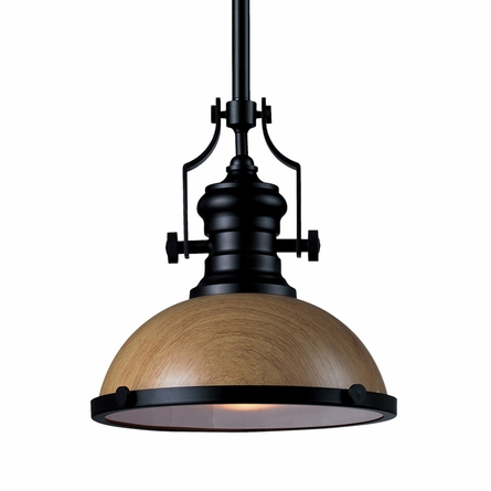 Chadwick Pendant In Medium Oak And Oiled Bronze