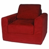Chair Sleeper in Red Microsuede