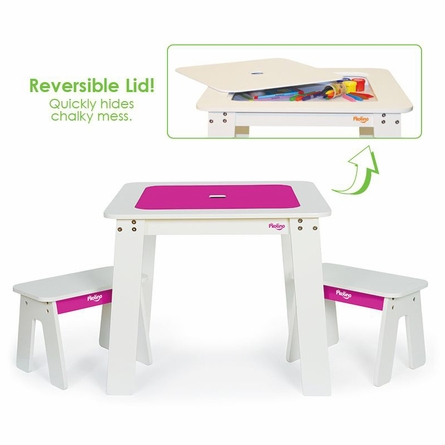 Chalk Table & Bench Set - Fuschia