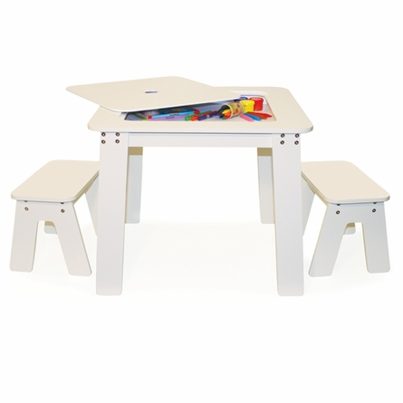 Chalk Table & Bench Set - White