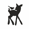 Chalkboard Deer and Bird Wall Decal