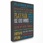 Chalkboard Rainbow Playroom Rules Canvas Wall Art