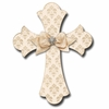Champagne Brocade Cross Cream Wall Plaques