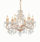 Champagne Wrought Iron Large Chandelier with Clear Murano Crystals