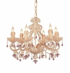 Champagne Wrought Iron Large Chandelier with Murano Crystals