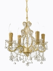 Champagne Wrought Iron Small Chandelier with Clear Murano Crystals