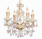 Champagne Wrought Iron Small Chandelier with Murano Crystals