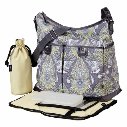 Charcoal Baroque Paisley Two Pocket Hobo Diaper Bag