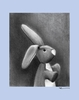 Charcoal Bunny - Blue Canvas Wall Art