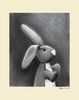Charcoal Bunny - Cream Canvas Wall Art