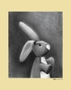 Charcoal Bunny - Yellow Canvas Wall Art