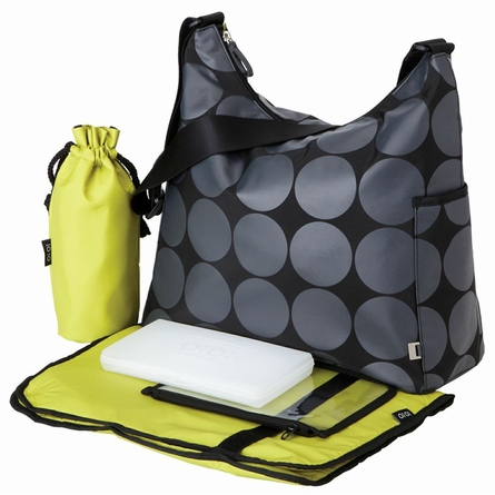 Charcoal Dot with Green Lining Hobo Diaper Bag